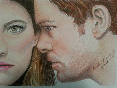 Dexter Drawing - Dexter And Deb by Kat Ewing