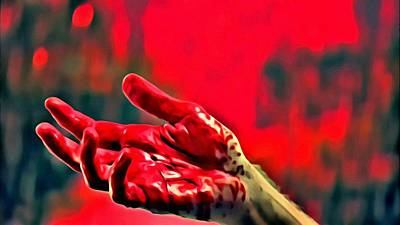 Painting - Dexter Bloody Hand by Florian Rodarte