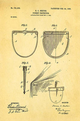 Protector Photograph - Dexter Pocket Protector Patent Art 1903 by Ian Monk