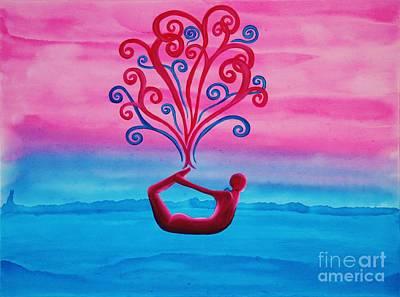 Yoga Pose Painting - Dhanurasana by Janell R Colburn