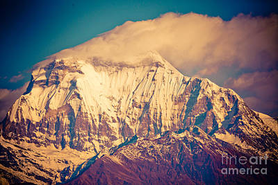 Peak Of Mount Dhaulagiri In Himalayas Mountain Nepal Art Print by Raimond Klavins