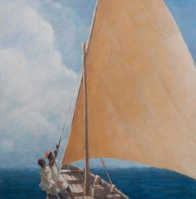 Sailboat Ocean Painting - Dhow Kilifi by Lincoln Seligman