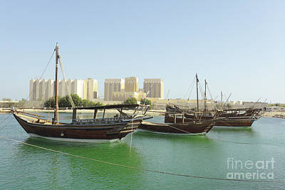 Photograph - Dhows And Doha Port Buildings by Paul Cowan