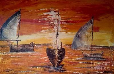 Tanzania Painting - Dhows On The Sunset by Nickson  Ndangalasi