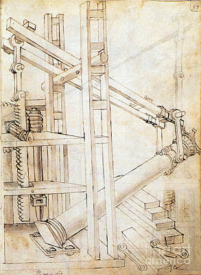 Photograph - Di Giorgio Invention, Column Lifter by Science Source