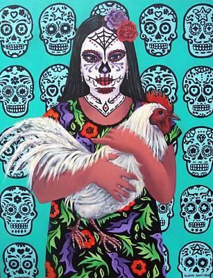 Painting - Dia De Los Mueros- La Chica Con El Gallo Blanco by Susan Santiago