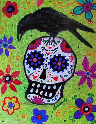 Painting - Dia De Los Muertos Black Crow by Pristine Cartera Turkus