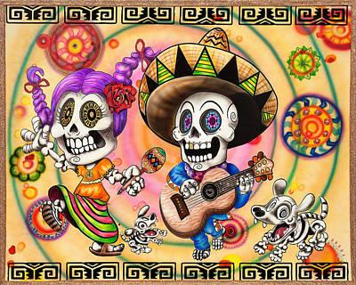 Rose And Skull Painting - Dia De Los Muertos Fiesta by Heather  Yeargan