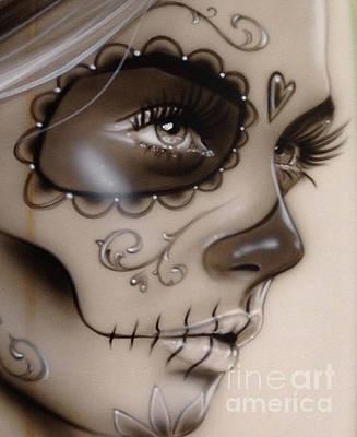 Gothic Art Painting - Sugar Skull - ' Dia De Los Muertos II ' by Christian Chapman Art