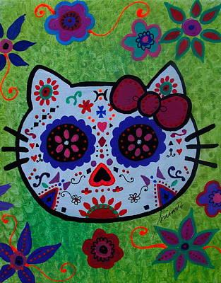 Artist Painting - Dia De Los Muertos Kitty by Pristine Cartera Turkus