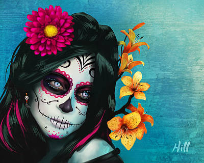 Kevin Hill Digital Art - Dia De Los Muertos - Margarita - 10th Anniversary Edition by Kevin Hill