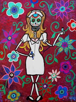 Painting - Dia De Los Muertos Nurse Calavera by Pristine Cartera Turkus
