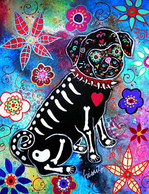 Dia De Los Muertos Pug Original by Pristine Cartera Turkus