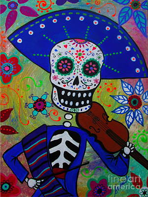 Dia De  Los Muertos Violinista Art Print by Pristine Cartera Turkus
