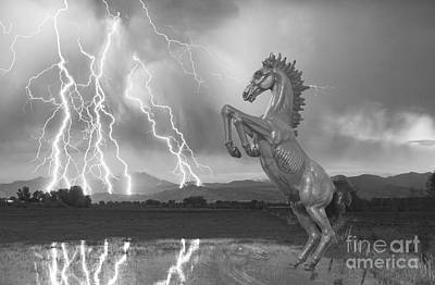 Photograph - Dia Mustang Bronco Lightning Storm Bw by James BO  Insogna