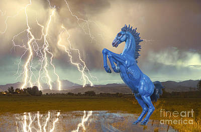 Photograph - Dia Mustang Bronco Lightning Storm by James BO  Insogna