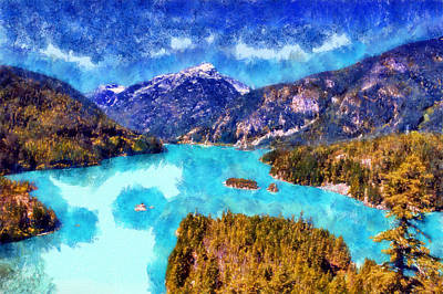 Canoe Digital Art - Diablo Lake by Kaylee Mason