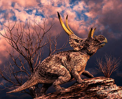Diabloceratops Was A Ceratopsian Art Print by Philip Brownlow