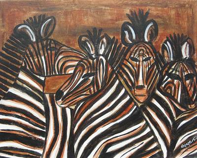 Painting - Zebra Bar Crowd by Diane Pape