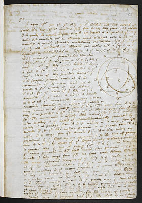 Isaac Newton Photograph - Diagram Representing Gravity by British Library
