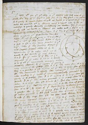 Isaac Newton Photograph - Diagram Representing Gravity by British Library