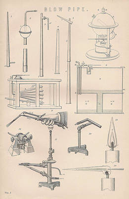 Diagrams And Parts Of A Blow Pipe Art Print by Anon