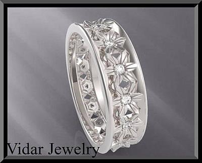 14k Jewelry - Diamond 14k White Gold Flower Woman Wedding Ring by Roi Avidar
