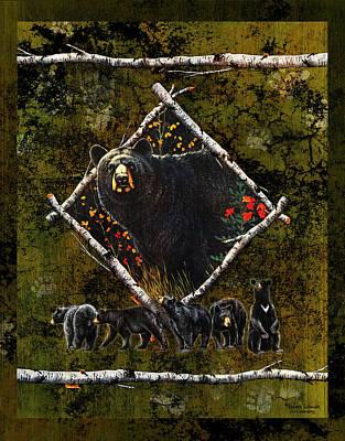 Black Bear Painting - Diamond Bear by JQ Licensing
