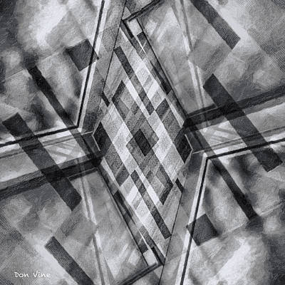 Diamond Cross  Bw Art Print
