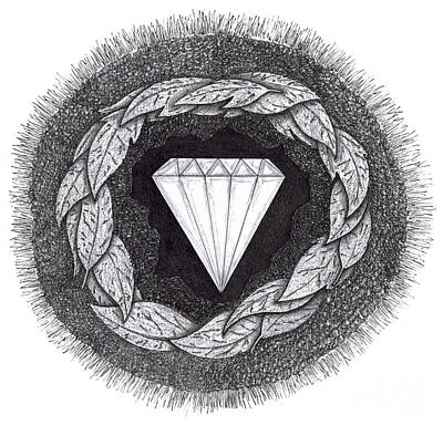 Natural Forces Drawing - Diamond Formed Under Pressure by Lee Serenethos