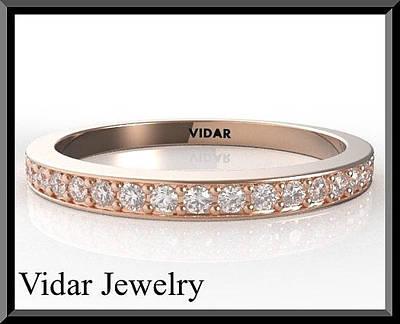 14k Jewelry - Diamond Half Eternity 14k Rose Gold Woman Wedding Ring by Roi Avidar