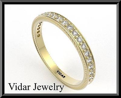 14k Jewelry - Diamond Half Eternity 14k Yellow Gold Woman Wedding Ring by Roi Avidar