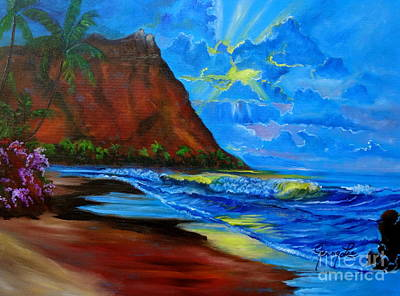 Diamond Head Blue Art Print