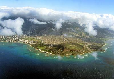 Photograph - Diamond Head From The Air by Nadalyn Larsen