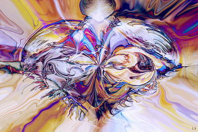 Abstract Movement Digital Art - Diamond Heart by Linda Sannuti
