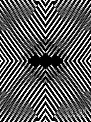 Diamond Illusion In Black And White Art Print by Sarah Loft