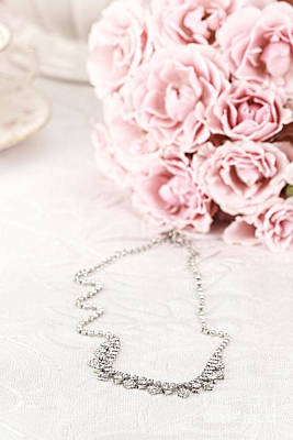 Long Necklace Photograph - Diamond Necklace And Pink Roses by Stephanie Frey