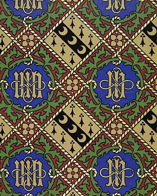 Diamond Print Ecclesiastical Wallpaper Art Print by Augustus Welby Pugin