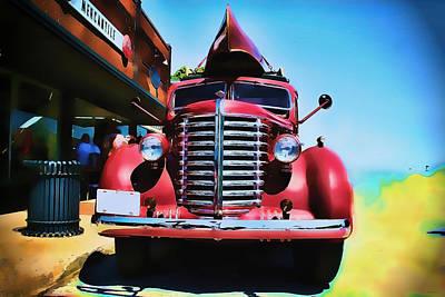 Photograph - Diamond T Truck - Tomato Red by Lesa Fine