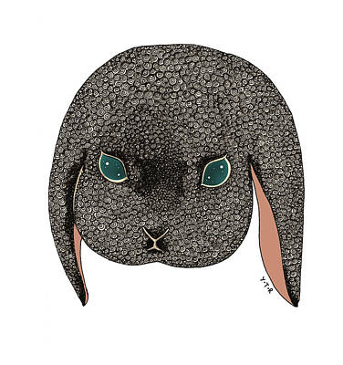 Rabbit Mixed Media - Diamond by Yoyo Zhao