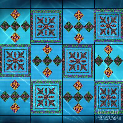 Digital Art - Diamonds Azure Base Design by Monica C Stovall