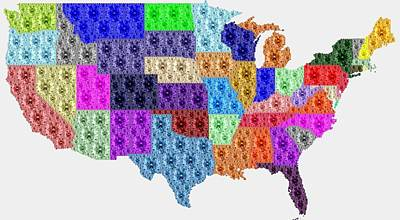 Digital Art - Diamonds Map Of Usa by Samuel Majcen