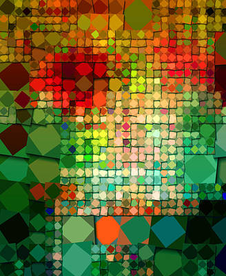 Colorful Abstract Digital Art - Diamonds On Parade by Bonnie Bruno
