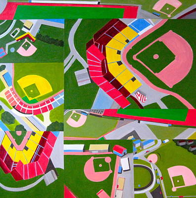 Abstract Baseball Painting - Diamonds by Toni Silber-Delerive