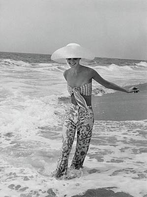 Film Photograph - Diana Ewing Playing At A Beach by John Shannon