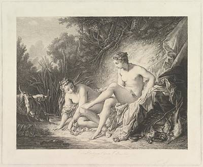 Louvre Drawing - Diana Sourtant Du Bain Diana Leaving by Pierre-Edmund-Alexandre Hedouin