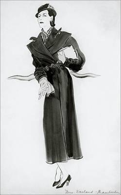 Looking At Camera Digital Art - Diana Vreeland Wearing A Mainbocher Coat by Ren? Bou?t-Willaumez