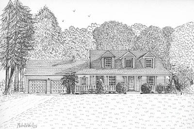 Drawing - Diana's House by Michelle Welles