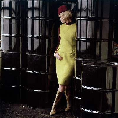Suede Photograph - Diane Kinney Wearing Yellow by George Barkentin