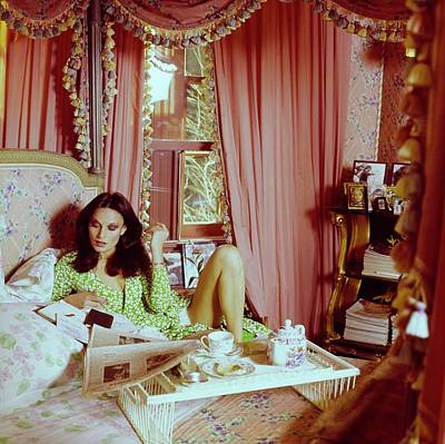 Photograph - Diane Von Furstenberg In Her Bedroom by Horst P. Horst